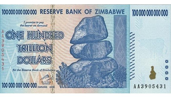 tờ 100 nghìn tỷ do lạm phát Zimbabwe