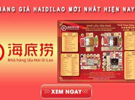Bảng giá Haidilao mới nhất hiện nay